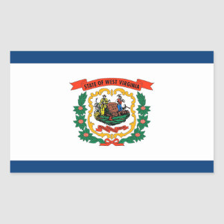 Rectangle sticker with Flag of West Virginia