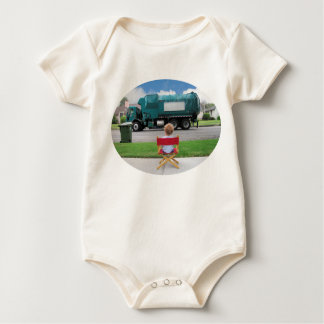 Recycle trash truck drives by with audience baby bodysuit