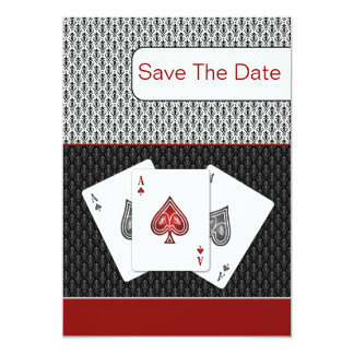 red 3 aces vegas wedding save the date 5x7 paper invitation card