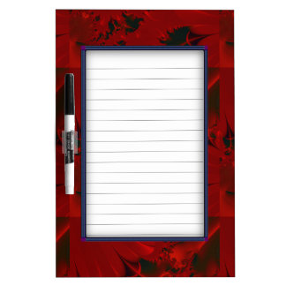 Red Abstract Design Dry Erase White Board