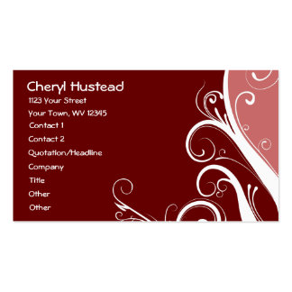 Red Abstract Floral Business Card