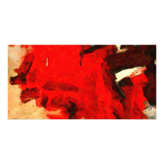 Red Abstract Painting Custom Photo Card