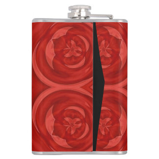 Red abstract wood pattern hip flask