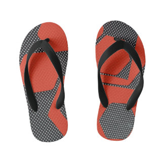 RED AND BLACK ABSTRACT FLIP FLOPS