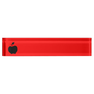Red and Black Apple Nameplate