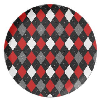 Red and Black Argyle Plate