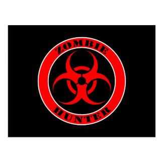 Red and Black Bio Hazard Zombie Hunter Postcard