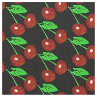 Red And Black Cherries Pattern Fabric