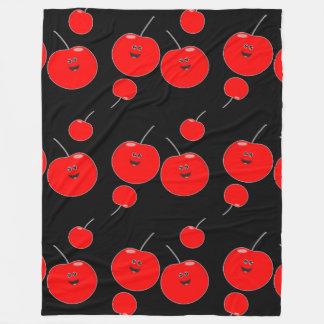 Red And Black Cherry Pattern Fleece Blanket