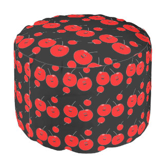 Red And Black Cherry Pattern Pouf