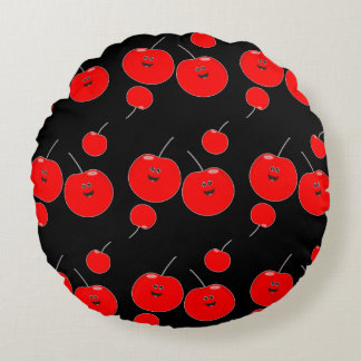 Red And Black Cherry Pattern Round Cushion