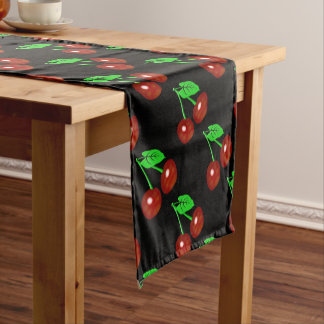 Red And Black Cherry Pattern Short Table Runner