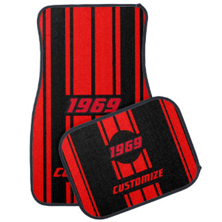 Red and Black Double Race Stripes | Personalise Car Mat