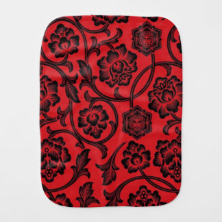 Red and Black Floral Burp Cloth