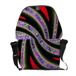 Red and Black Fractal Messenger Bag