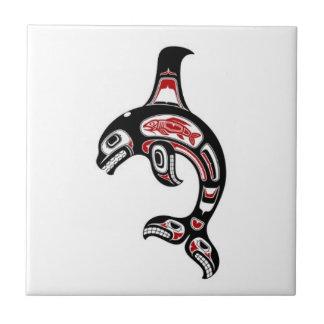 Red and Black Haida Spirit Killer Whale Tile