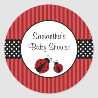 Red and Black Ladybug Striped Dots Baby Shower Round Sticker