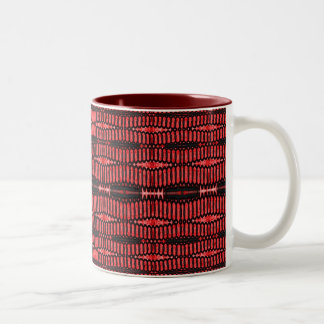 red and black ovals Two-Tone coffee mug