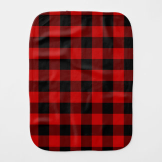 Red and Black Plaid Burp Cloths