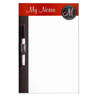 Red and Black Polka Dots - My Notes Dry Erase Board