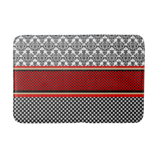 Red and black Victorian print bath mat