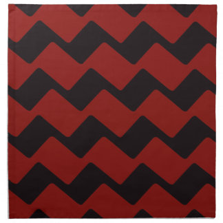 Red and Black Wavy Chevrons Napkin