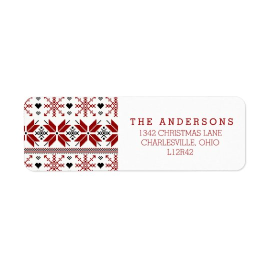 Red and Black Winter Fair Isle Pattern Return Address Label