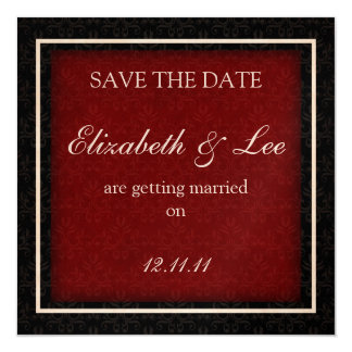 """Red and Black Winter Wedding """"Save the Date"""" Card 13 Cm X 13 Cm Square Invitation Card"""