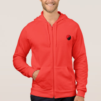 RED AND BLACK YIN YANG MANS RED ZIP UP HOODIE