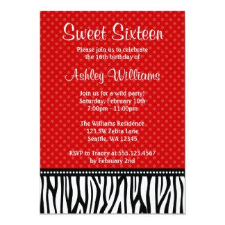 Red and Black Zebra Polka Dot Sweet 16 13 Cm X 18 Cm Invitation Card