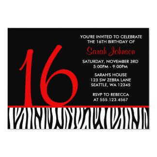 Red and Black Zebra Sweet 16 Number Birthday 13 Cm X 18 Cm Invitation Card