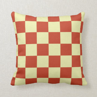 Red and Cream Checkered Throw Pillow