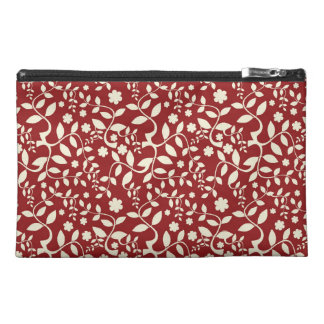Red and Cream Floral Travel Accessories Bag