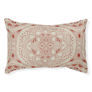Red and Cream Henna Style Mandala Pet Bed