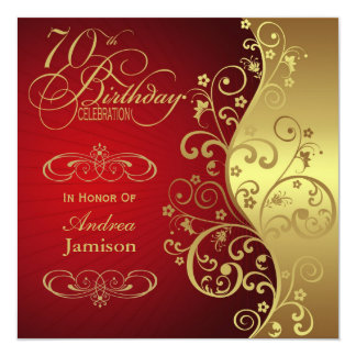 Red and Gold 70th Birthday Party Invitation