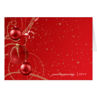 Red and Gold Christmas Ornament Business Christmas Note Card