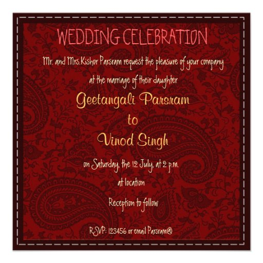 Red and gold damask brocade Hindu wedding Custom Announcements