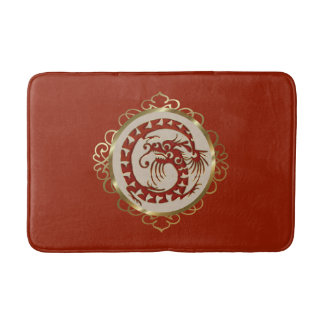 Red and Gold Dragon Medallion Bath Mat Bath Mats