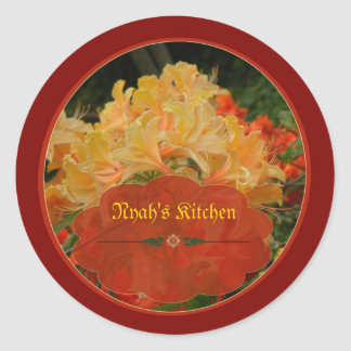 Red and Gold floral spice jar labels Round Sticker