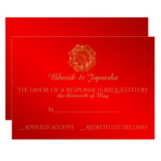Red and Gold Flower Indian Wedding Response Card