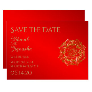 Red and Gold Flower Indian Wedding Save the Date 9 Cm X 13 Cm Invitation Card
