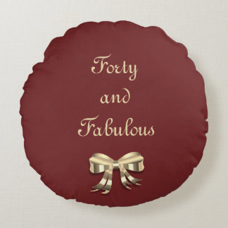 Red and Gold Forty and Fabulous Round Cushion