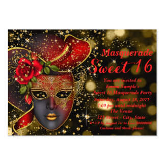 Red and Gold Glitter Masquerade Party Card