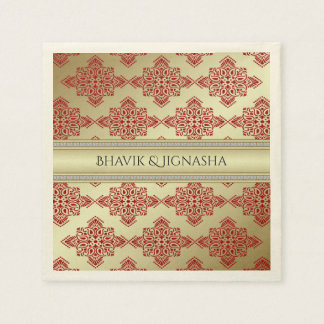 Red and Gold Indian Damask Wedding Napkin Disposable Serviette