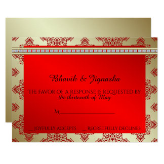 Red and Gold Indian Damask Wedding Response Card 9 Cm X 13 Cm Invitation Card