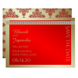 Red and Gold Indian Damask Wedding Save the Date 9 Cm X 13 Cm Invitation Card