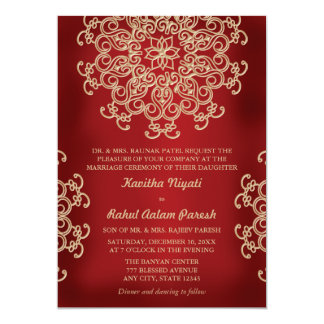 """RED AND GOLD INDIAN STYLE WEDDING INVITATION 5"""" X 7"""" INVITATION CARD"""