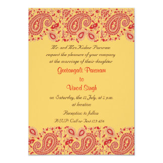 """Red and gold Indian Wedding 4.5"""" X 6.25"""" Invitation Card"""