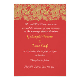 Red and gold Indian Wedding Custom Invites