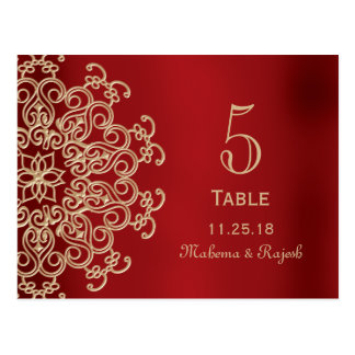 RED AND GOLD INDIAN WEDDING TABLE NUMBER CARD POSTCARD